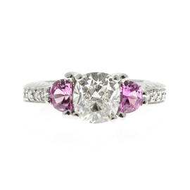 Peter Suchy Platinum Diamond Pink Sapphire Ring Size 7.0
