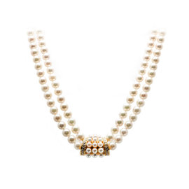 Mikimoto 18K Yellow Gold Double Cultured Pearl 0.72ct. Diamond Necklace