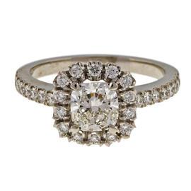 Peter Suchy Platinum 1.01ct. Diamond Cushion Cut Halo Ring Size 6.25
