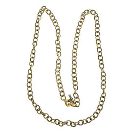 David Yurman Oval Link Sterling Silver 18K Yellow Gold Necklace