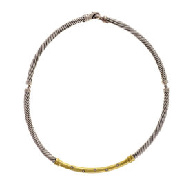 David Yurman 14K Yellow Gold Diamond 925 Sterling Silver Metro Choker Necklace