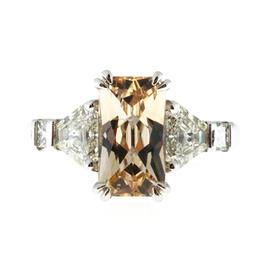 Peter Suchy Platinum 3.31ct. Orange Yellow Sapphire Trapezoid Diamond Ring Size 6.5