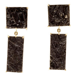 Peter Suchy 18K Yellow Gold & Black Tourmaline Crystal Slices Dangle Earrings
