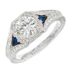 Peter Suchy 950 Platinum Transitional Cut Diamond & Sapphire Engagement Ring Size 6.5