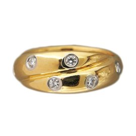 etoile criss cross 030ct diamond platinum 18k yellow gold ring size - Preowned Wedding Rings