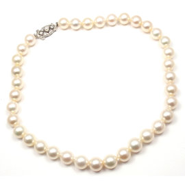 Mikimoto 9K White Gold Gold with Akoya Cultured Pearl and Diamond Necklace