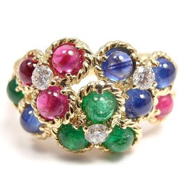 Christian Dior 18K Yellow Gold with Diamond, Emerald, Ruby and Sapphire Ring Size 6