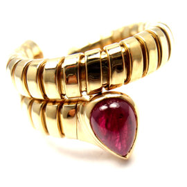 Bulgari Tubogas 18K Yellow Gold with Ruby Coil Snake Band Ring Size 6-7