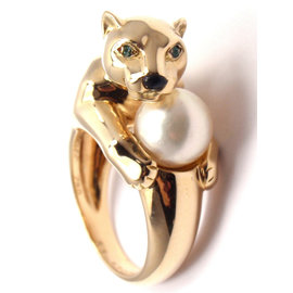 Cartier Panther Panthere 18K Yellow Gold with Pearl, Emerald & Onyx Ring Size 6.25