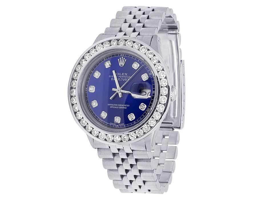 "Image of ""Rolex Datejust 16014 Stainless Steel Jubilee Blue Dial Custom 5.25ct"""