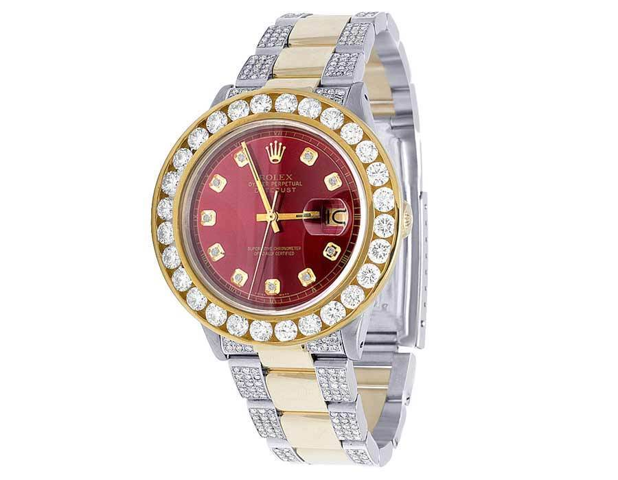 "Image of ""Rolex Datejust Oyster Two Tone 18K/Stainless Steel Red Dial Custom"""