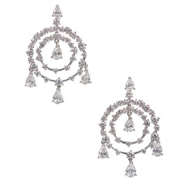 Van Cleef & Arpels Petillante 18K White Gold Diamond Chandelier Gold Earrings