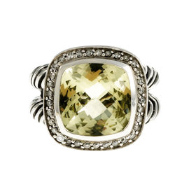 David Yurman Sterling Silver Prasiolite 0.33ct. Diamond Ring Size 6
