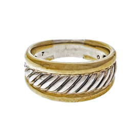 David Yurman Sterling Silver & 18K Yellow Gold Cable Thoroughbred Ring Size 7.25