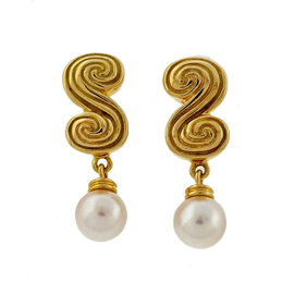 Tiffany & Co. 18K Yellow Gold With Pearl Dangles Scroll Earrings