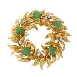 Tiffany & Co. 18K Yellow Gold Jadeite Jade & Diamonds Wreath Pin Pendant