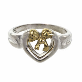 Tiffany & Co. Sterling Silver 18k Yellow Gold Heart Bow Ring Size 6.25