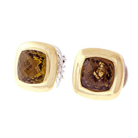 David Yurman 18K Yellow Gold and Sterling Silver Lemon Quartz Albion Earrings