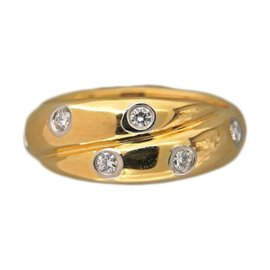 Tiffany & Co. 18K Yellow Gold & Platinum 0.31ct Diamond Etoile Criss Cross Ring Size 5.75