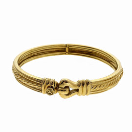 David Yurman 18K Yellow Gold Cable Hinged Bangle Bracelet