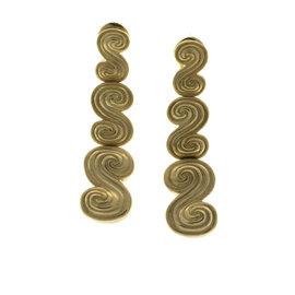 Tiffany & Co. 18K Yellow Gold Long Swirl Earrings