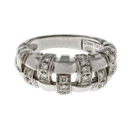 Tiffany & Co. 18K White Gold & Diamond Basket Weave Ring Size 5.5