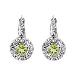 Sweetly Shimmering 14k White Gold Peridot Diamond Earrings