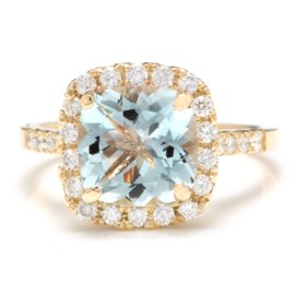 14K Yellow Gold 2.5ct Natural Aquamarine and 0.60ct Diamond Ring Size 6.5
