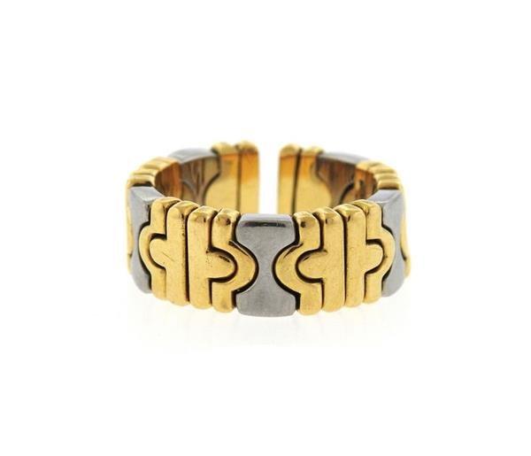 "Image of ""Bulgari Parentesi 18K Yellow Gold & Stainless Steel Flex Ring Size 6"""