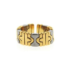 Bulgari Parentesi 18K Yellow Gold & Stainless Steel Flex Ring Size 6