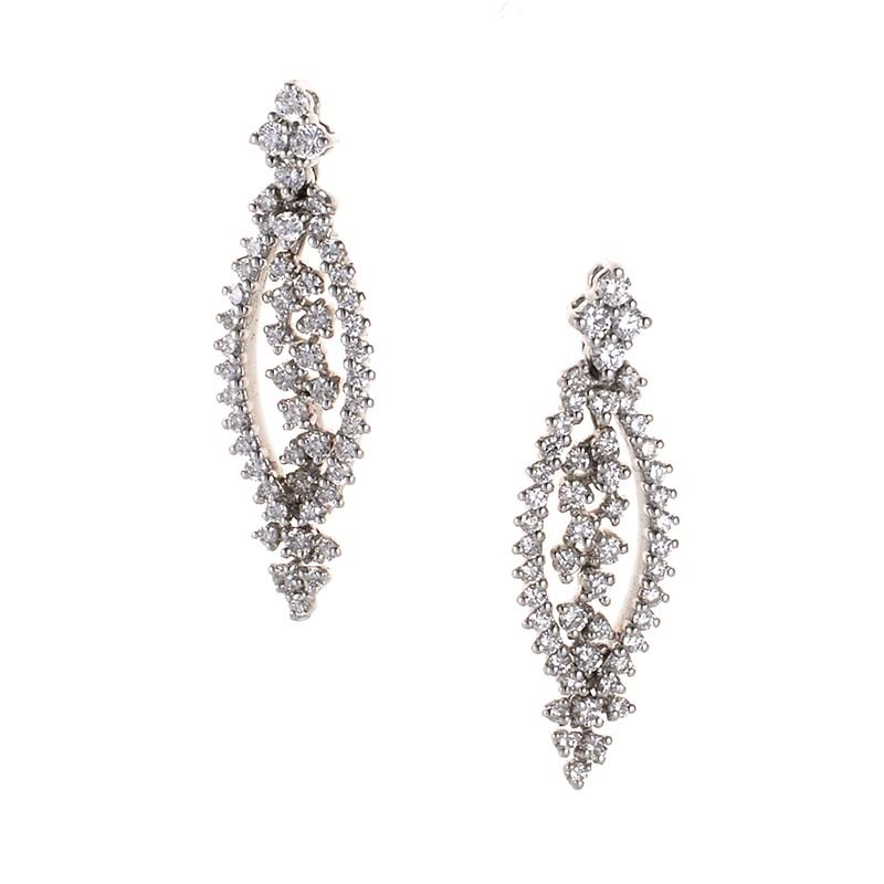 "Image of ""Raima 18K White Gold Openwork Diamond Earrings"""