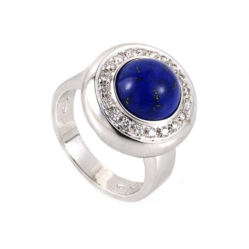 "Image of ""Piero Milano 18K White Gold Lapis & Diamond Ring Size 7.5"""