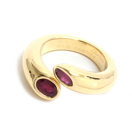 Cartier 18K Yellow Gold Ruby Ellipse Ring Size 5.75