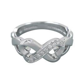 Tiffany & Co. 18K White Gold Heart Diamond Ring Size 5.75