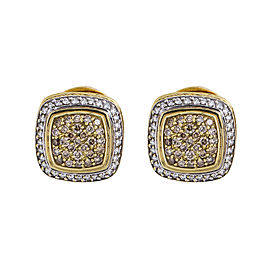 David Yurman Estate 18K Yellow Gold 2.0 CT Diamond Cable Earrings