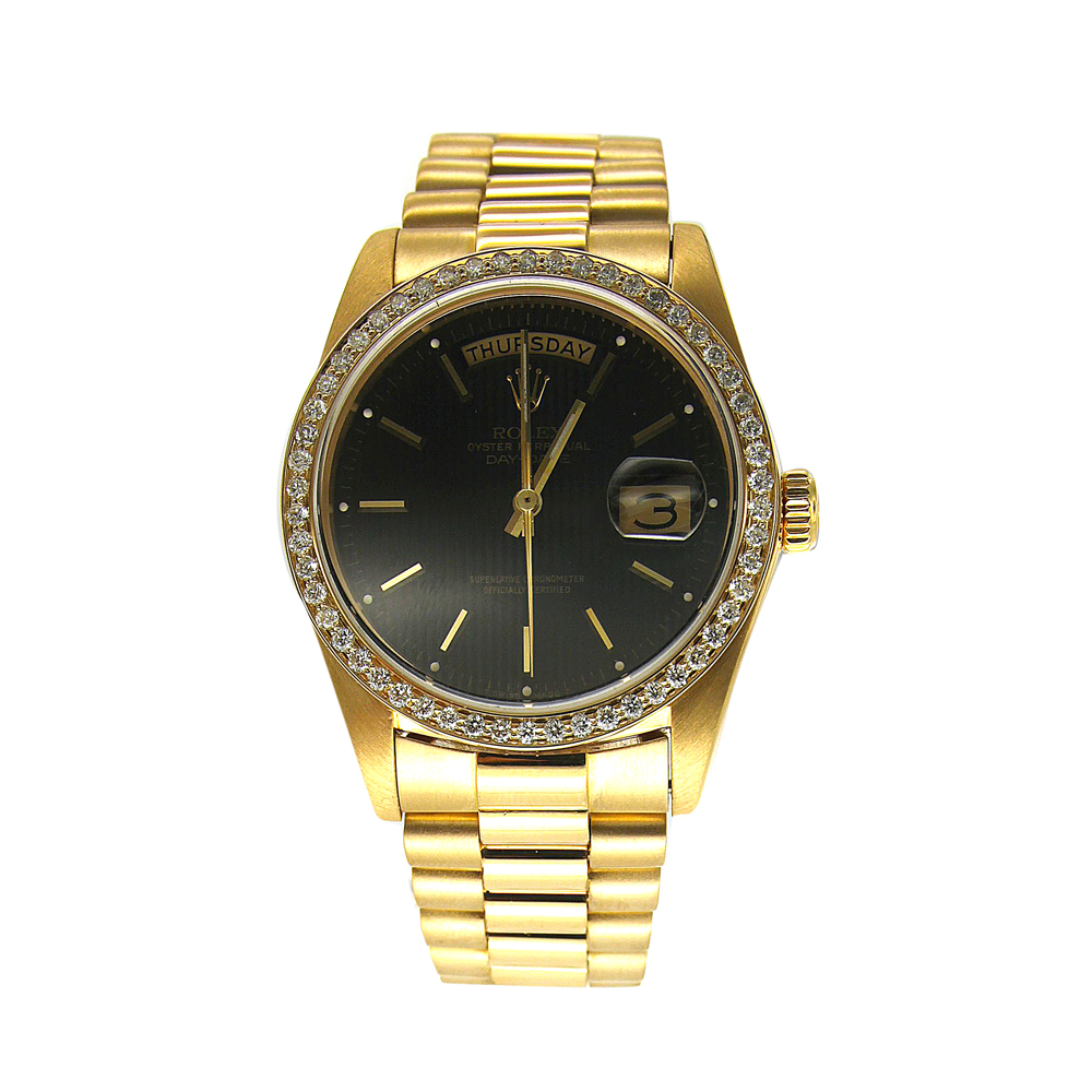 """Image of """"Black Dial Yellow Gold Rolex Day Date with Custom Diamond Bezel"""""""