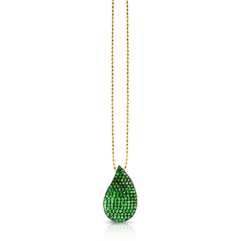 "Image of ""Phillips House 14K Yellow Gold & Tsavorite Petal Pendant Necklace"""