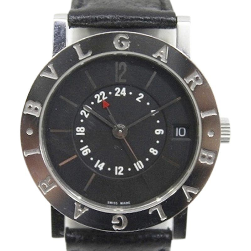 """Image of """"Bulgari Bb33Sl Stainless Steel & Leather Automatic 33mm Mens Watch"""""""
