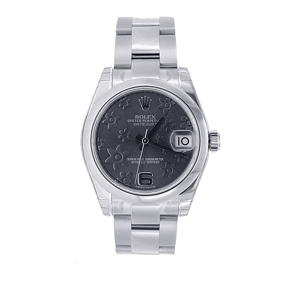 """Image of """"Stainless Steel Midsize Rolex DateJust Model 178240 with Floral Motif"""""""