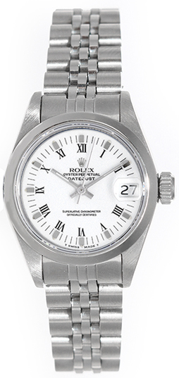"Image of ""Rolex Date 69160 Stainless Steel White Roman Dial Automatic 26mm"""