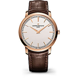 Vacheron Constantin Traditionnelle 43075000R-9737 18K Rose Gold and Leather with Silver Dial Automatic 41mm Mens Watch