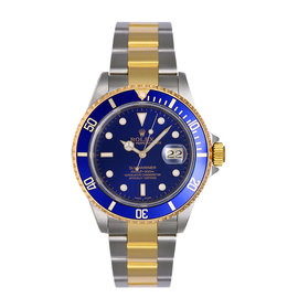 Rolex Submariner 16613 Two Tone Gold Blue Dial Mens Watch