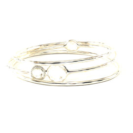 Ippolita Sterling Silver Clear Quartz Diamond Bangle Bracelet Set