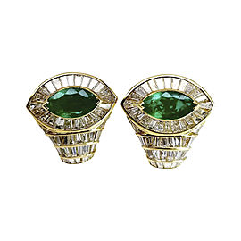 18K Yellow Gold Diamod & Colombian Marquise Emerald Earrings