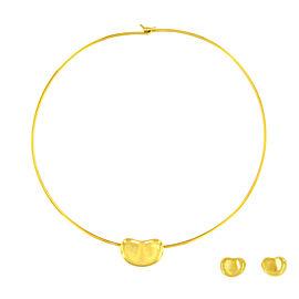 Tiffany & Co. Elsa Peretti 18K Yellow Gold Bean Set of Earrings & Necklace