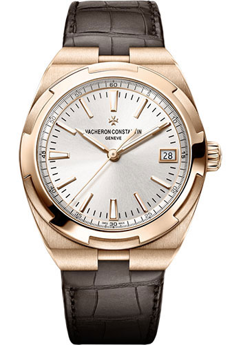 "Image of ""Vacheron Constantin Overseas 18K Rose Gold & Leather with Silver Dial"""
