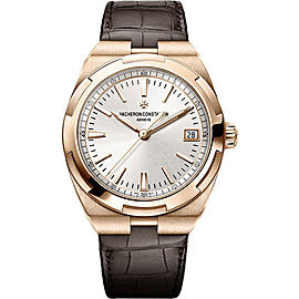 Vacheron Constantin Overseas 18K Rose Gold & Leather with Silver Dial Automatic 41mm Mens Watch