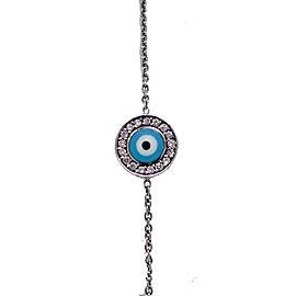 Aaron Basha 18K White Gold Evil Eye Bracelet