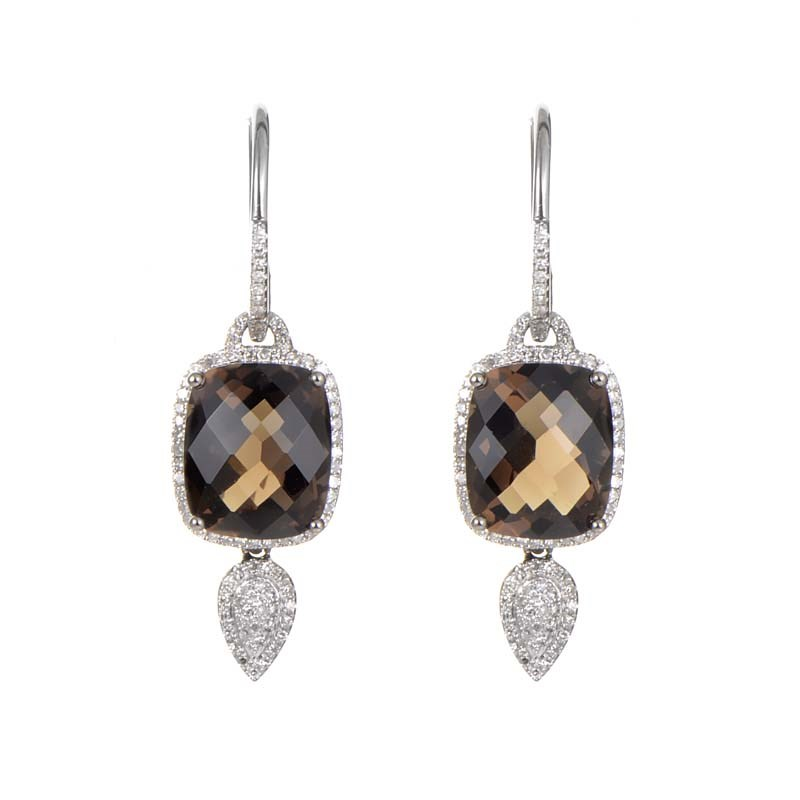 "Image of ""Natalie K 14K White Gold Smokey Quartz & Diamond Drop Earrings"""