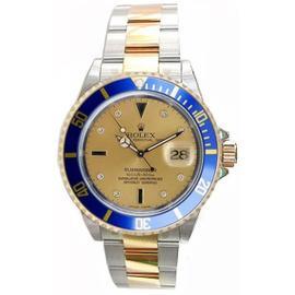 Rolex Submariner 16613 Steel & 18K Gold Champ Serti Diamond and Sapphire Dial, Gold Thru Flip-Lock Clasp, Perfect and Mint 2000-2001 Model Watch